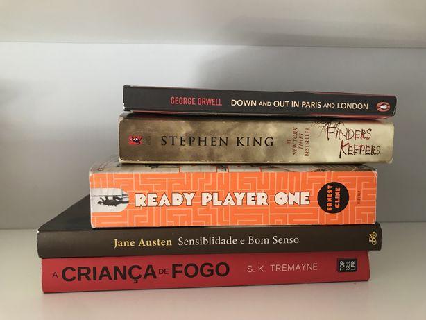 5 Livros - George Orwell, Stephen King, Jane Austen, Ernest Cline, etc