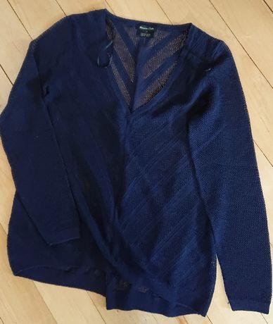 sweter ażurowy massimo dutti granatowy rozcięcie przędza