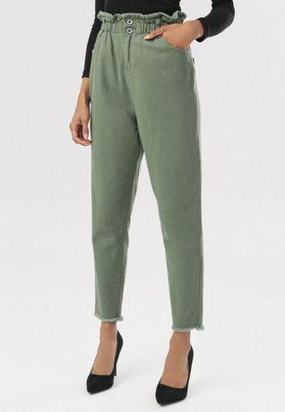 Jeansy mom fit, wysoki stan , luźne, s, m, l oliwkowe Hit 2021