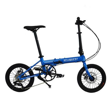 Rower składany ekstra lekki Veloquest niebieski/żółty