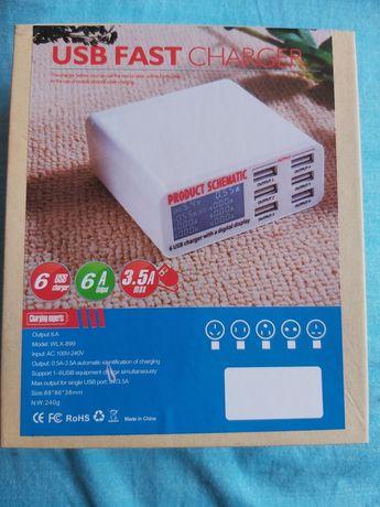 Stacja ladowania USB Ładowarka sieciowa 6xusb 2a wyswietlacz hit