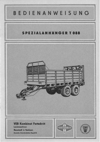 Instrukcja obsługi rozrzutnika Fortschritt T 088 w języku niemieckim