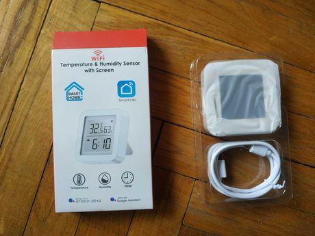 Часы с датчиком температуры и влажности TH06! Alexa, Google Assistant!