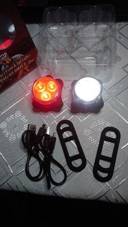 Zestaw świateł rowerowych, reflektor rowerowy, USB, Akumulator, LED