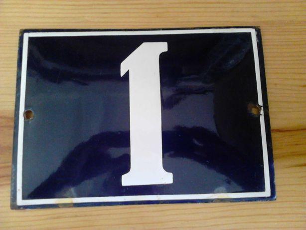 """Placa Antiga Número de Porta """"1"""" Esmaltada"""
