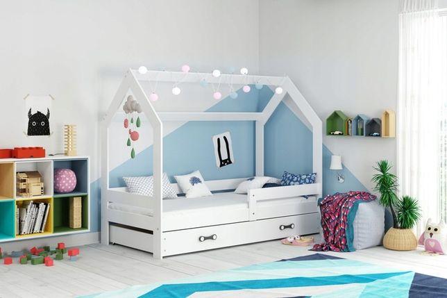 Łóżko dzieciece domek z materacem 160x80 szufladą, białe wysoka jakość