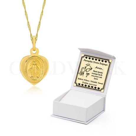 GRAWER Piękny Złoty 585 Łańcuszek z Cudownym Medalikiem na Chrzest