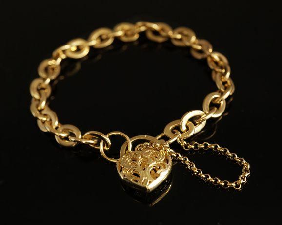 Złoto 585-złota damska bransoletka z sercem