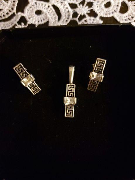 Srebrny komplet kolczyki+przywieszka pr.925