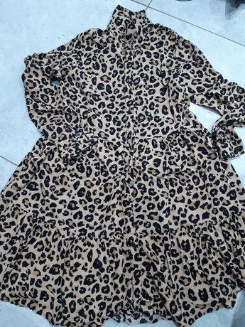 Sukienka tunika w panterkę stradivarius s