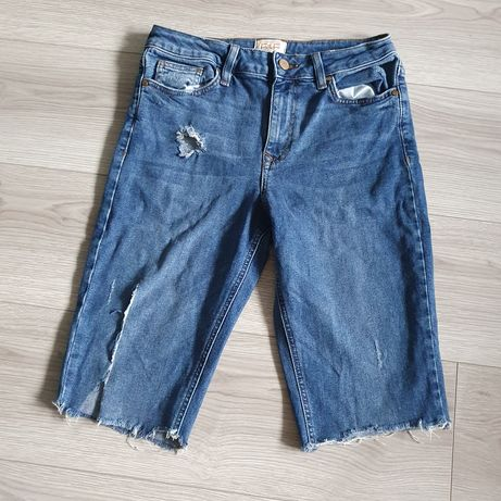 Kolarki jeansowe bershka pull&bear wysoki stan Zara M L 38 40 spodenki
