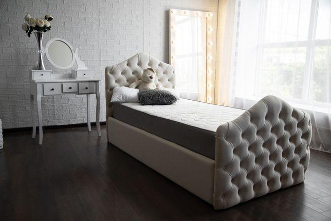 Детская кровать мягкая с каретной стяжкой Подростковая кровать