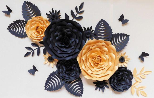 Kwiaty z papieru Chanel Słodki stół - złoto - czarne - 10 sztuk+liście