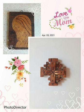 Деревянная икона, крест в подарок. Доставка бесплатно