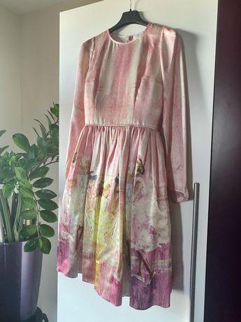 Эксклюзивное шелковое платье с принтом художницы Айлин Грушовенко