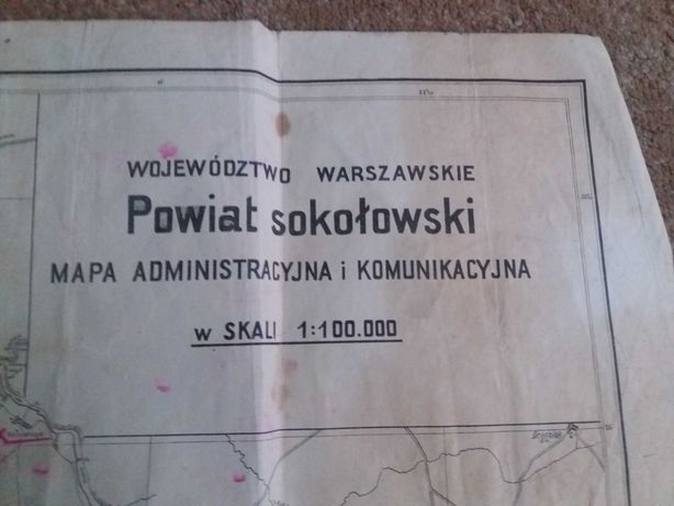 Mapa powiatu Sokolowskiego z 1948 roku