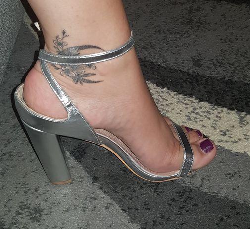 Srebrne sandaly słupek roz.39 nowe Mango Zara inne