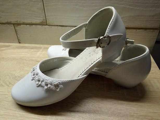 Buty dla dziewczynki - białe, komunijne