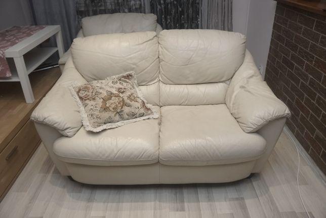 Biała skórzana sofa + fotel