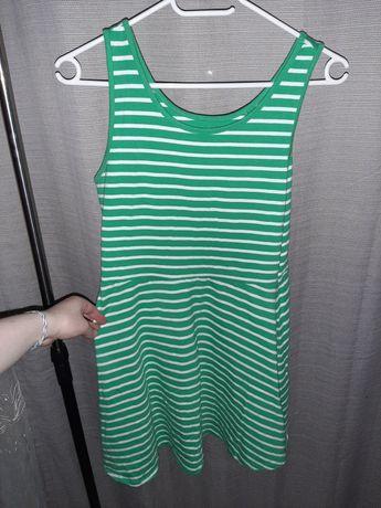 Next rozkloszowana zielono biała sukienka na ramiączkach 12 lat 152 cm
