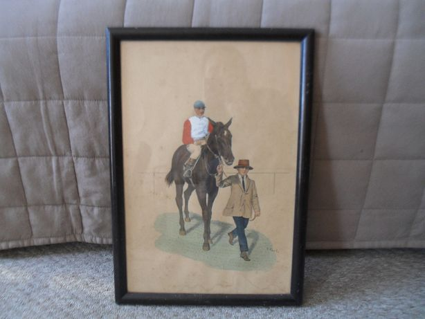 Koń i dżokej - przedwojenna kolorowa grafika - sygnowana