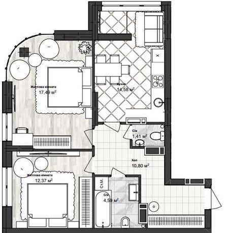 Двухкомнатная квартира 61 кв.м ул.Ак.Заболотного VV