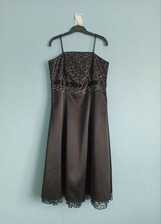 Sukienka czarna atłasowa rozm. 38