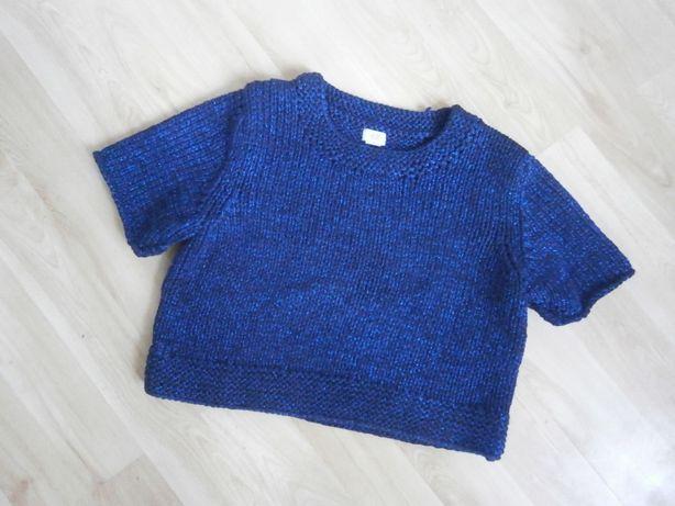 Bluzka dziergany krótki sweter oversize indygo granatowy niebieski H&M