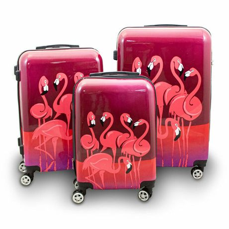M4 Zestaw walizek różowych FLAMINGI 3szt zwrotne na 4 kółkach ABS lekk