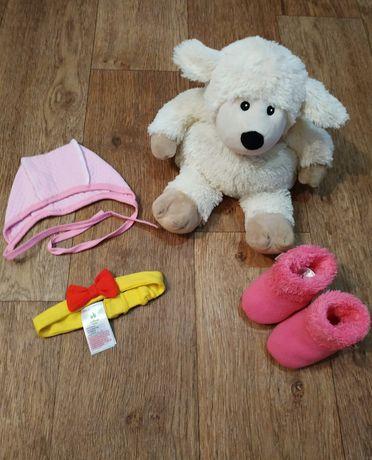 Набор для новорожденной девочки. Повязка, шапочка, пинетки