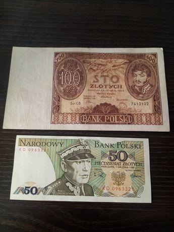 Zestaw 2 banknotów: 100zl z 1943 i 50zł z 1988r