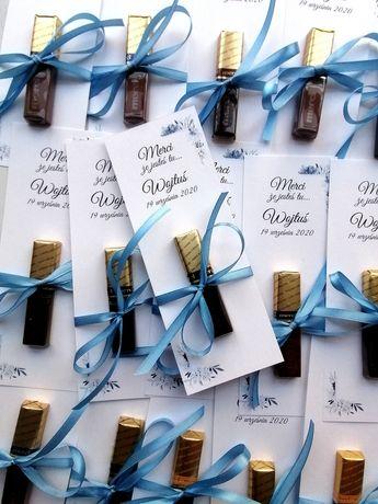 Podziękowanie podziękowania dla gości w postaci czekoladki Merci