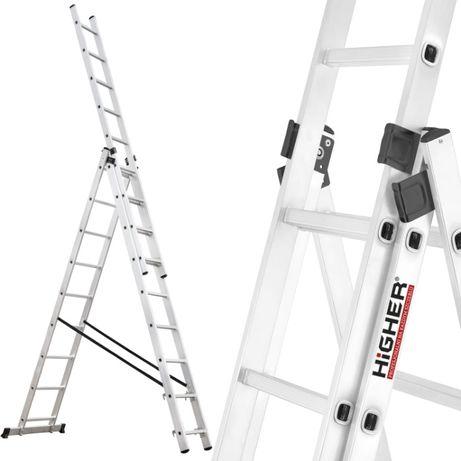 Drabina aluminiowa 3x9 HIGHER na schody 7,10m 150kg