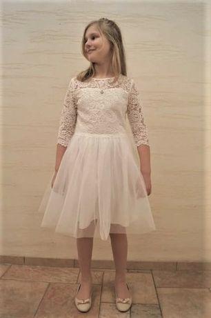 Sukienka dziewczęca koronka z tiulem 134,146,152,158cm biała
