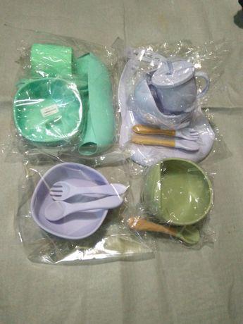 Силиконовая посуда набор тарелка, ложка, нагрудник, силіконовий посуд
