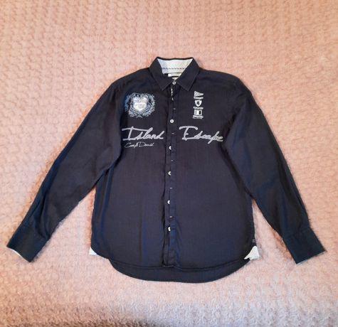 Тёмно - синяя рубашка хлопок camp david