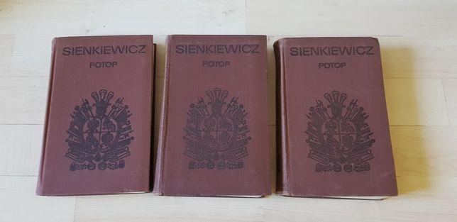 Potop Henryk Sienkiewicz 1968, III tomy, płótno, PIW