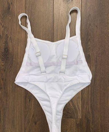 Стильный белый сдельный спортивный купальник бикини с-м,44-46