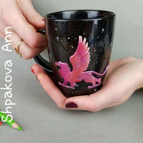 Чашка с декором из полимерной глины космический Грифон кружка подарок