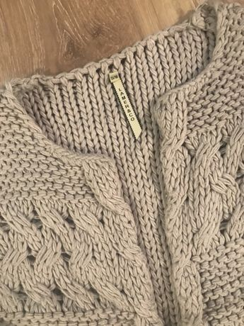 Sweter kardigan szary/gruby splot/ wełna / jesień zima