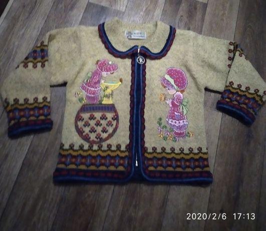 Теплая кофта свитер на молнии на 3-4 годика
