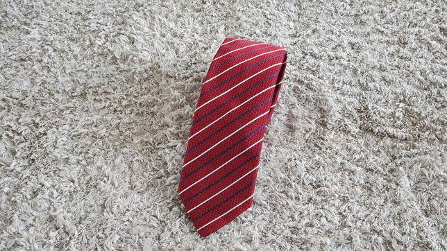 Krawat HUGO BOSS Czerwony PASKI Wąski JEDWABNY Oryginalny 6 cm