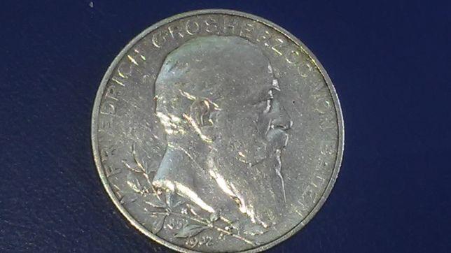 2 марки Баден 1902 ,50 лет правлению Фридриха I