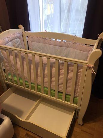 Детская кроватка Верес Соня ЛД 15, матрас, защитные бортики, постель
