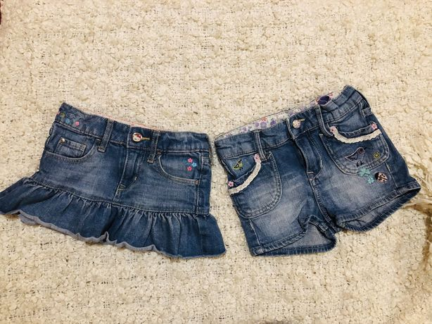 Джинсовие шорти юбка вишивка hm 92