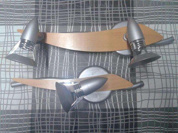 Conjunto de focos (madeira e metal)
