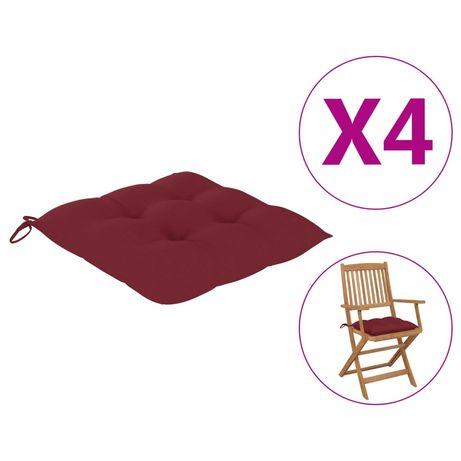 vidaXL Almofadões de cadeira 4 pcs 40x40x7 cm tecido vermelho tinto 314888