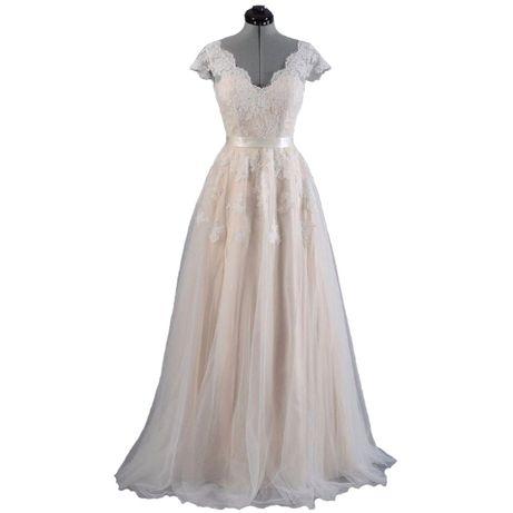 suknia ślubna boho beż linia-A koronka 34, 36, 38, 44, 46