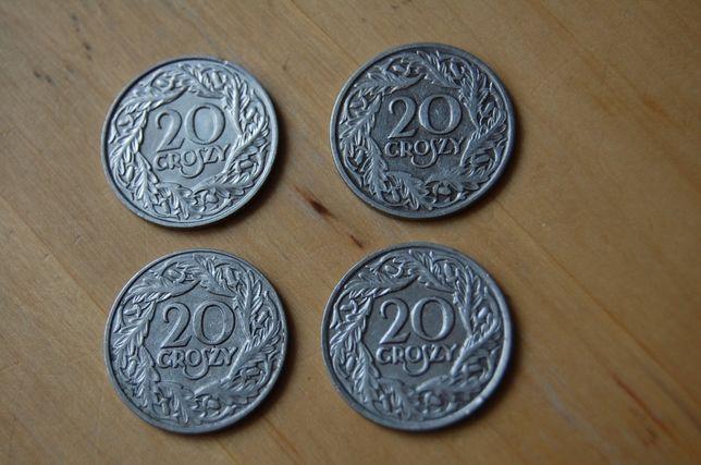 Moneta, monety 20 groszy z 1923 roku. 4 sztuki za 50 zł + 2 GRATIS.