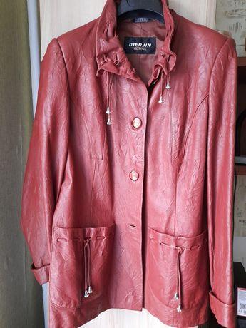 Куртка коричневая экокожа б/у (состояние идеальное)